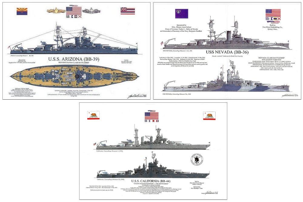 USS    ARIZONA   USS    NEVADA   USS    CALIFORNIA    Diagrams    PEARL